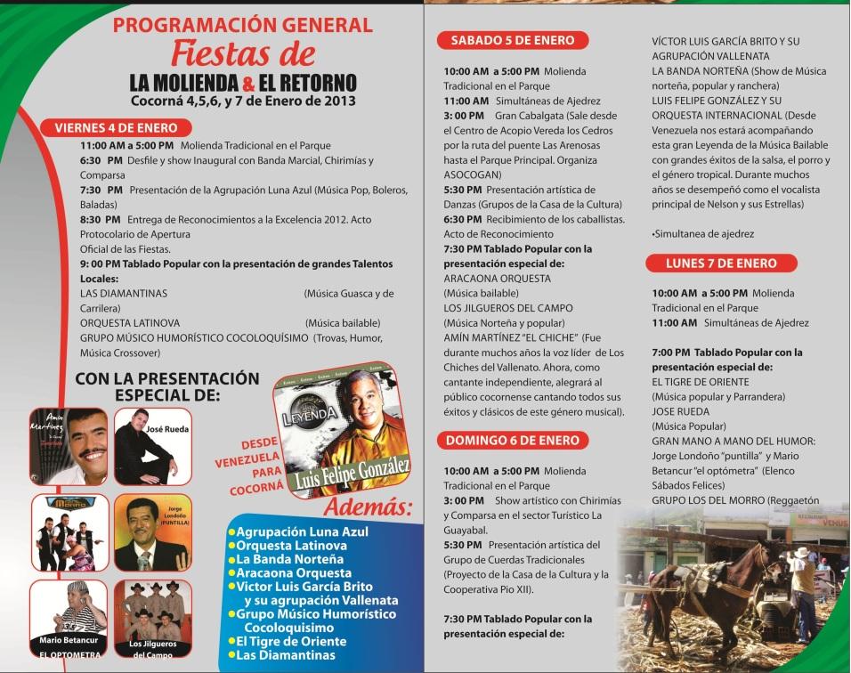 programacion fiestas de la molienda y el retorno 2013 COCORNA 2