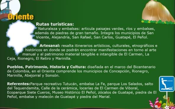 RUTAS TURISTICAS ORIENTE ANTIOQUEÑO